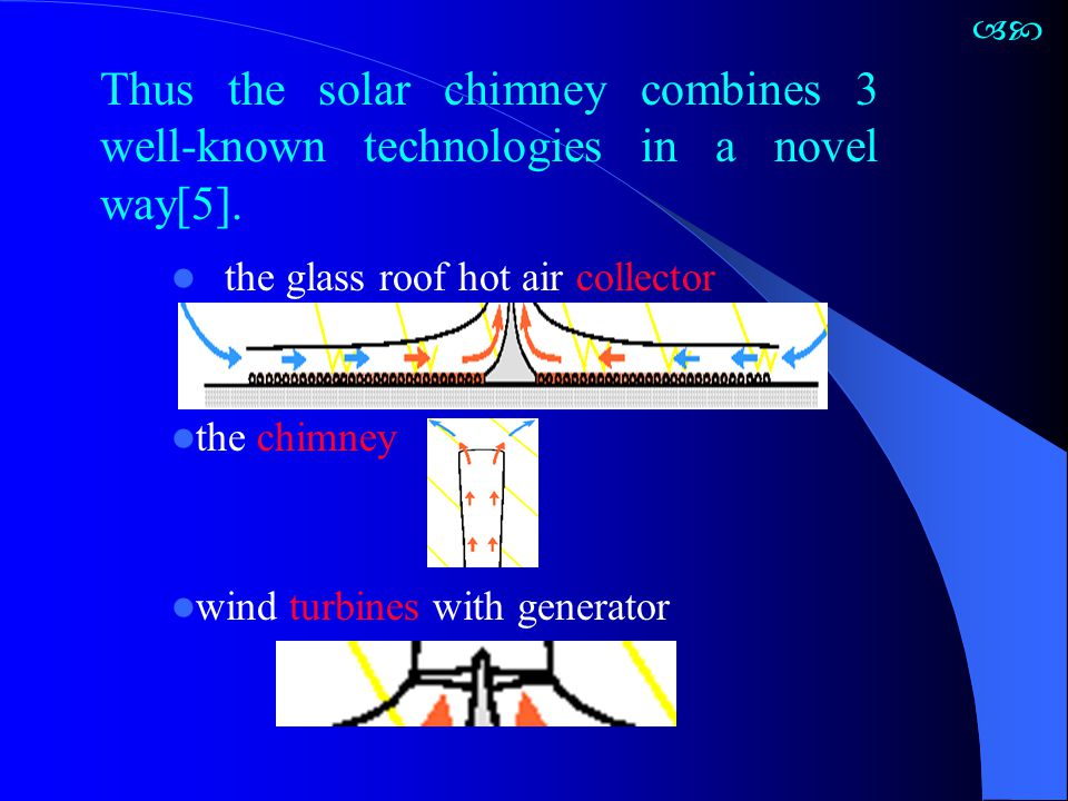  Thus the solar chimney combines 3 well-known technologies in a novel way[5]. the glass roof hot air collector.